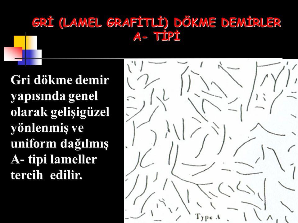GRİ (LAMEL GRAFİTLİ) DÖKME DEMİRLER A- TİPİ Gri dökme demir yapısında genel olarak gelişigüzel yönlenmiş ve uniform dağılmış A- tipi lameller tercih e