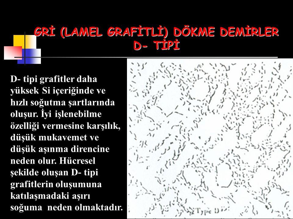 GRİ (LAMEL GRAFİTLİ) DÖKME DEMİRLER D- TİPİ D- tipi grafitler daha yüksek Si içeriğinde ve hızlı soğutma şartlarında oluşur. İyi işlenebilme özelliği
