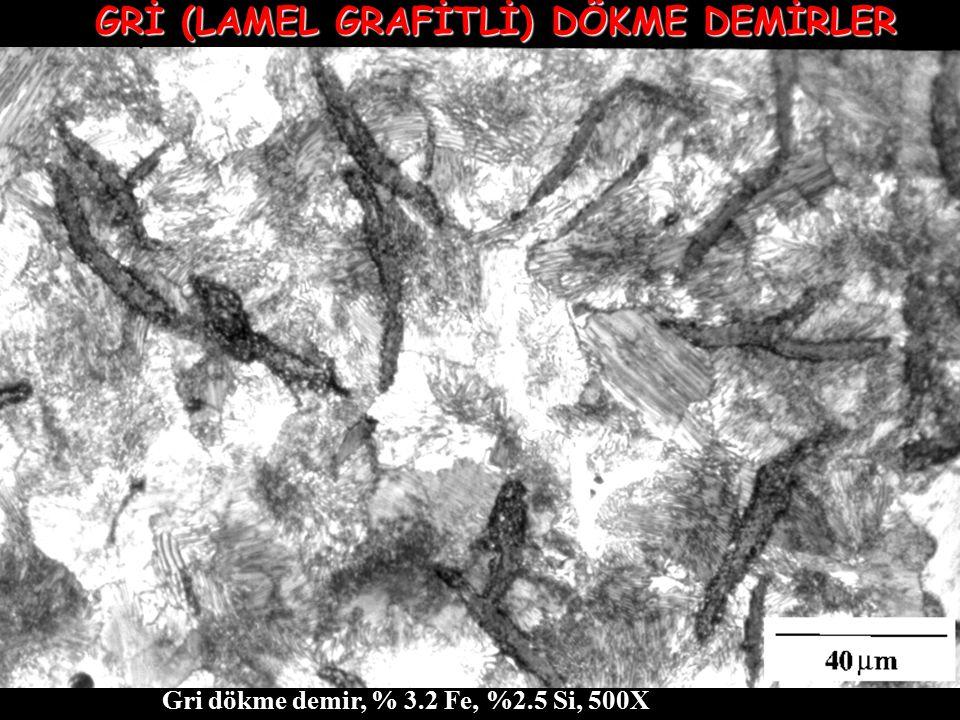 Gri dökme demir, % 3.2 Fe, %2.5 Si, 500X GRİ (LAMEL GRAFİTLİ) DÖKME DEMİRLER