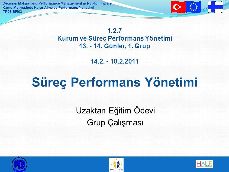 Decision Making and Performance Management in Public Finance Kamu Maliyesinde Karar Alma ve Performans Yönetimi TR08IBFI03 1.2.7 Kurum ve Süreç Perfor