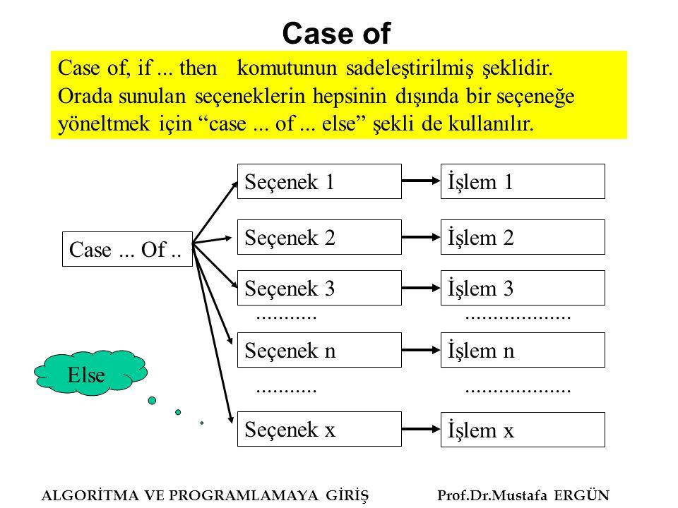 ALGORİTMA VE PROGRAMLAMAYA GİRİŞ Prof.Dr.Mustafa ERGÜN Case of, if... then komutunun sadeleştirilmiş şeklidir. Orada sunulan seçeneklerin hepsinin dış