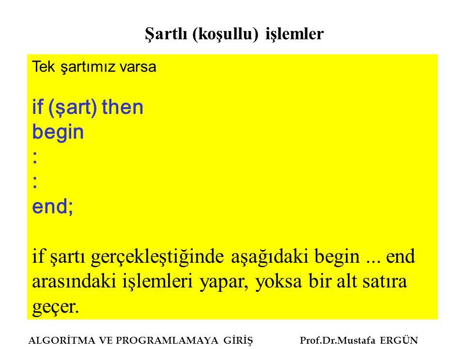 ALGORİTMA VE PROGRAMLAMAYA GİRİŞ Prof.Dr.Mustafa ERGÜN Tek şartımız varsa if (şart) then begin : end; if şartı gerçekleştiğinde aşağıdaki begin... end