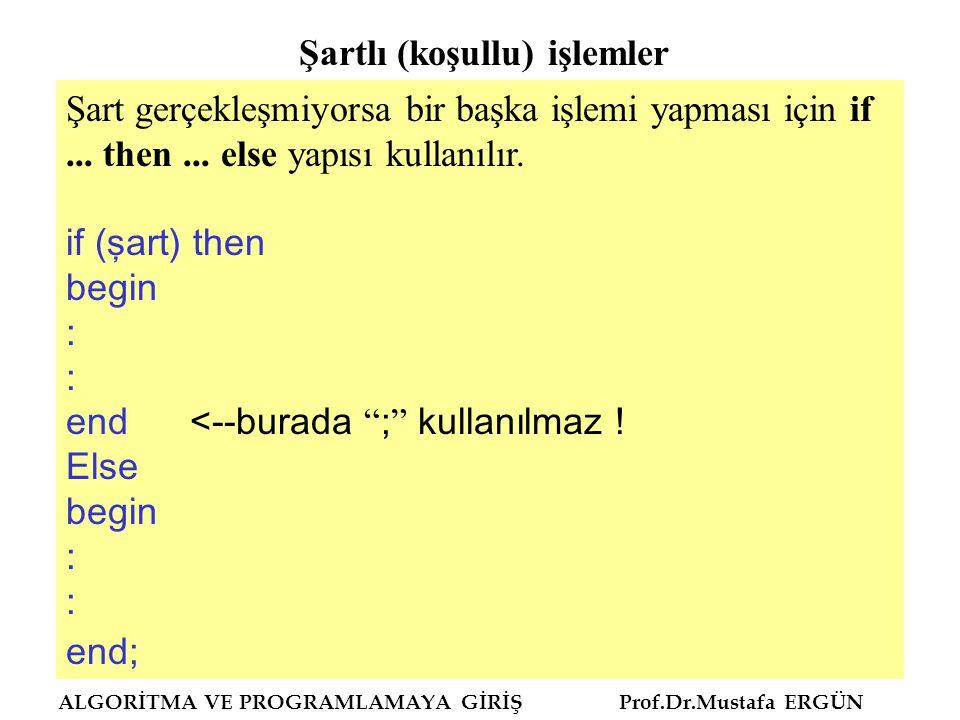 ALGORİTMA VE PROGRAMLAMAYA GİRİŞ Prof.Dr.Mustafa ERGÜN Şart gerçekleşmiyorsa bir başka işlemi yapması için if... then... else yapısı kullanılır. if (ş