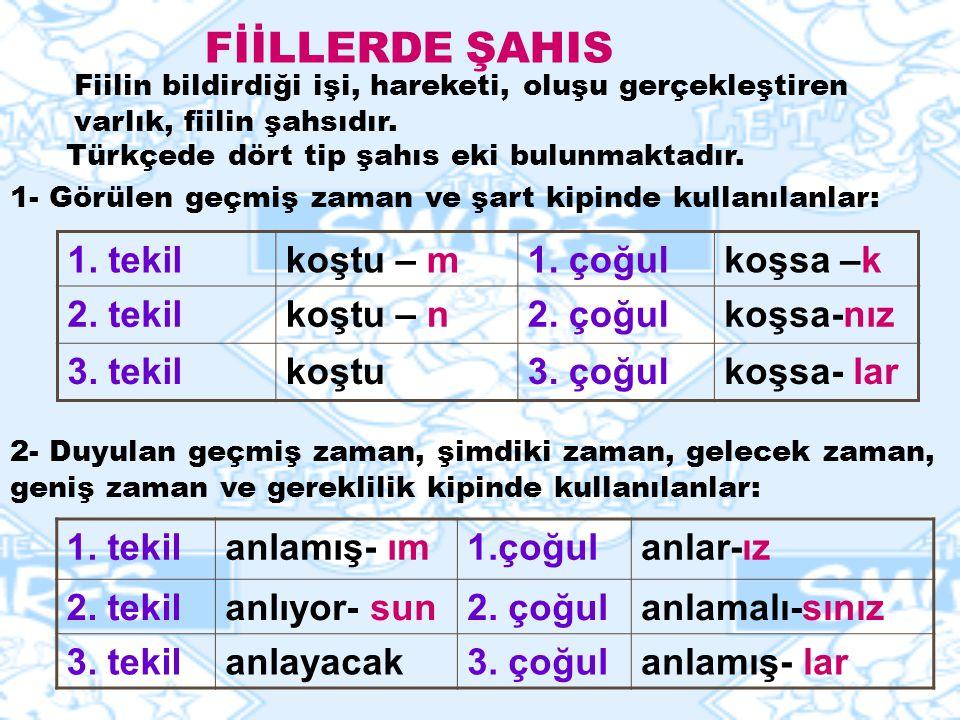 FİİLLERDE ŞAHIS 1.tekilkoştu – m1. çoğulkoşsa –k 2.