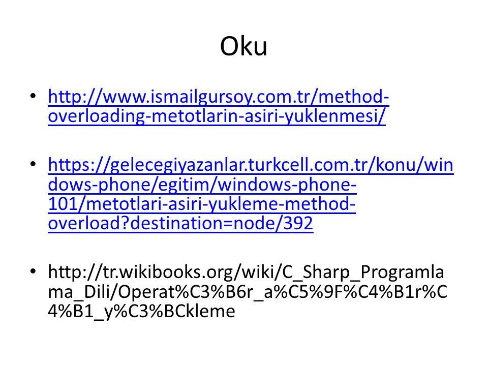 Oku http://www.ismailgursoy.com.tr/method- overloading-metotlarin-asiri-yuklenmesi/ http://www.ismailgursoy.com.tr/method- overloading-metotlarin-asiri-yuklenmesi/ https://gelecegiyazanlar.turkcell.com.tr/konu/win dows-phone/egitim/windows-phone- 101/metotlari-asiri-yukleme-method- overload destination=node/392 https://gelecegiyazanlar.turkcell.com.tr/konu/win dows-phone/egitim/windows-phone- 101/metotlari-asiri-yukleme-method- overload destination=node/392 http://tr.wikibooks.org/wiki/C_Sharp_Programla ma_Dili/Operat%C3%B6r_a%C5%9F%C4%B1r%C 4%B1_y%C3%BCkleme
