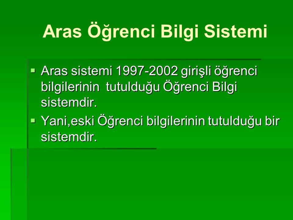 Aras Öğrenci Bilgi Sistemi  Aras sistemi 1997-2002 girişli öğrenci bilgilerinin tutulduğu Öğrenci Bilgi sistemdir.  Yani,eski Öğrenci bilgilerinin t
