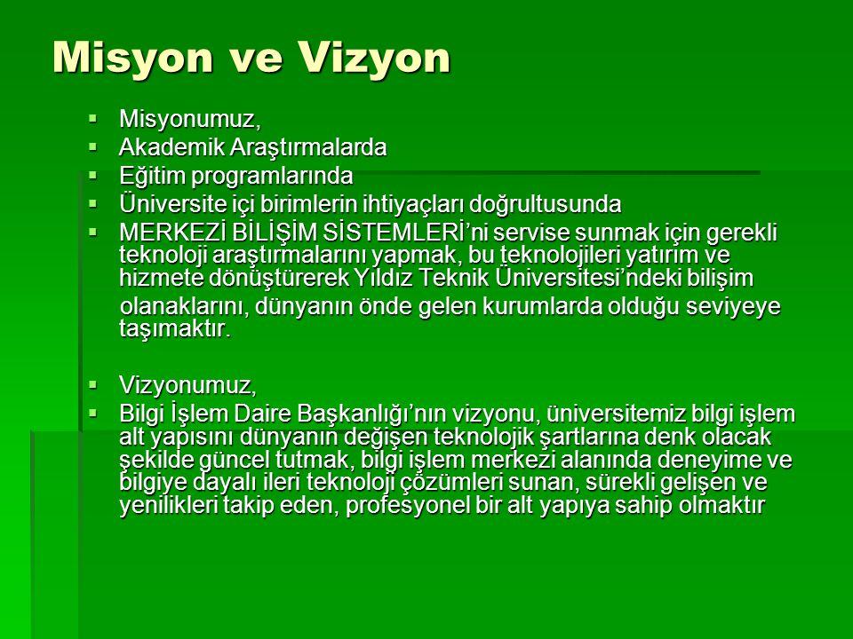 Misyon ve Vizyon  Misyonumuz,  Akademik Araştırmalarda  Eğitim programlarında  Üniversite içi birimlerin ihtiyaçları doğrultusunda  MERKEZİ BİLİŞ