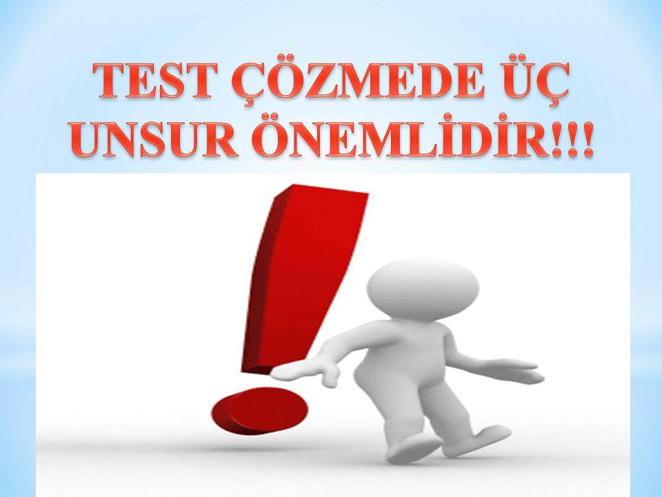 * Çok sorulu testlerde Turlu Soru Çözme Yöntemi bilinen soruların çözümünü hızlandırır.