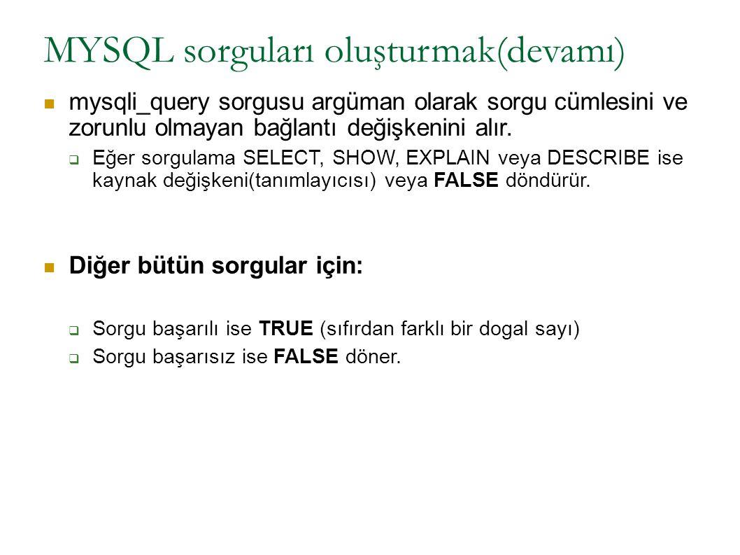 MYSQL sorguları oluşturmak(devamı) mysqli_query sorgusu argüman olarak sorgu cümlesini ve zorunlu olmayan bağlantı değişkenini alır.  Eğer sorgulama