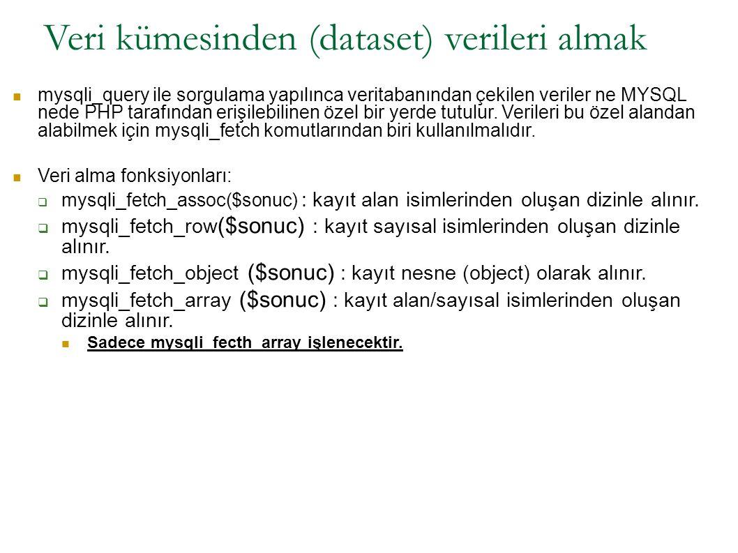 Veri kümesinden (dataset) verileri almak mysqli_query ile sorgulama yapılınca veritabanından çekilen veriler ne MYSQL nede PHP tarafından erişilebilin