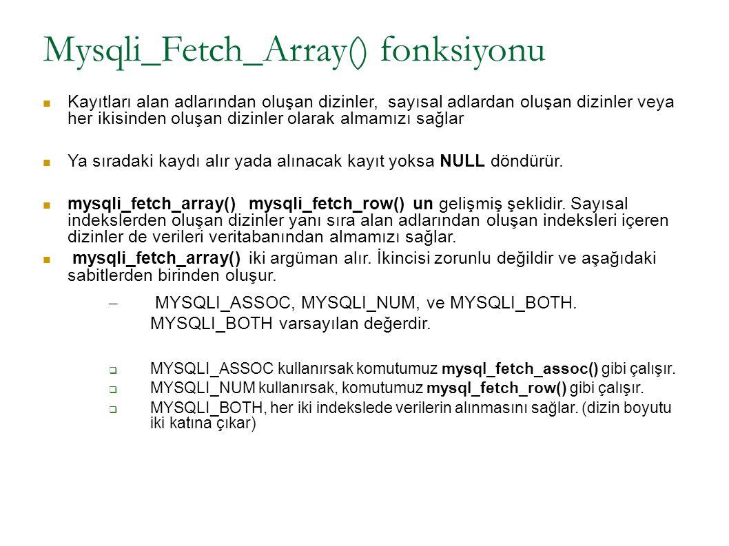 Mysqli_Fetch_Array() fonksiyonu Kayıtları alan adlarından oluşan dizinler, sayısal adlardan oluşan dizinler veya her ikisinden oluşan dizinler olarak