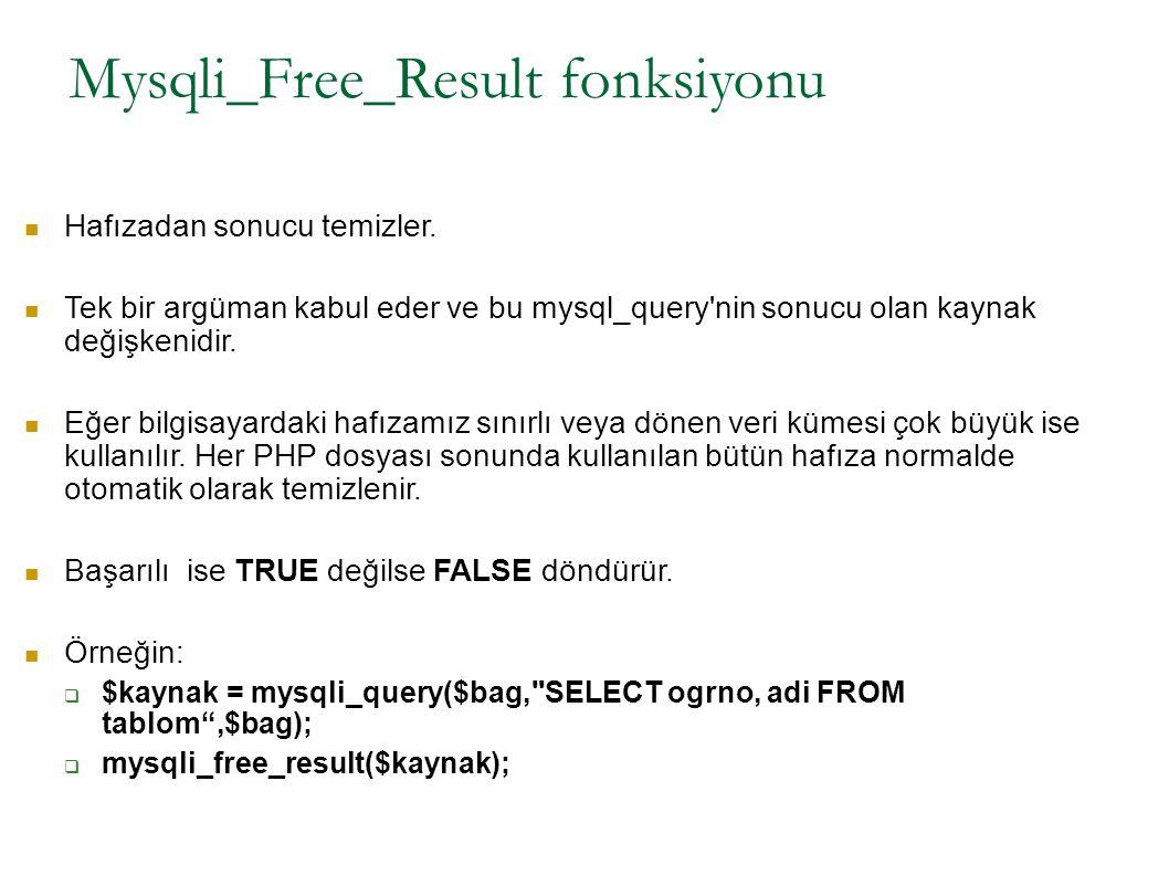 Mysqli_Free_Result fonksiyonu Hafızadan sonucu temizler. Tek bir argüman kabul eder ve bu mysql_query'nin sonucu olan kaynak değişkenidir. Eğer bilgis