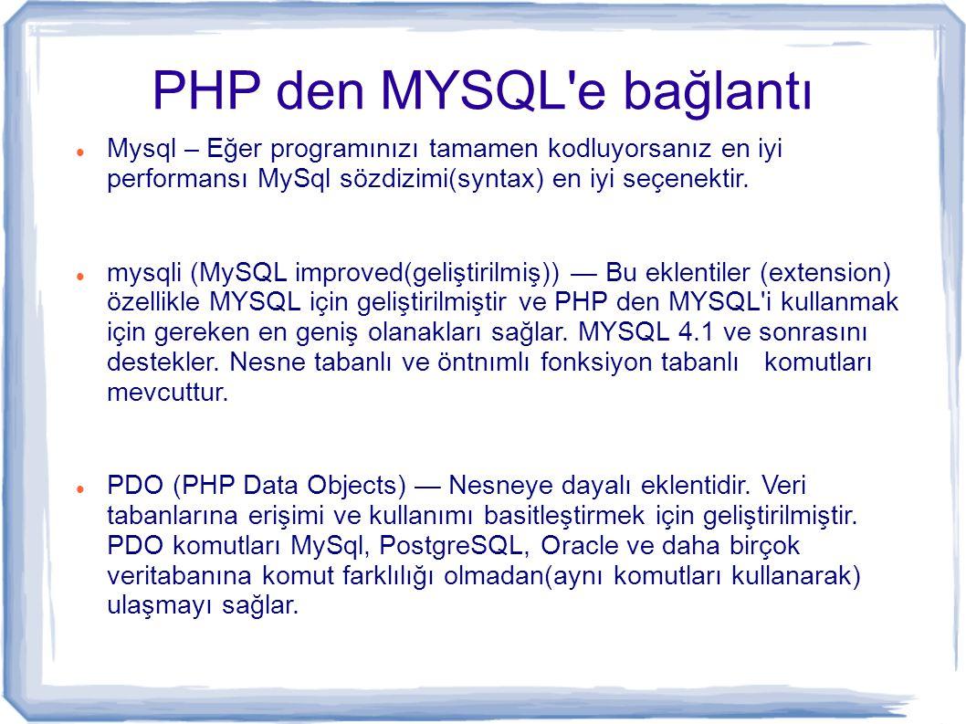 PHP den MYSQL'e bağlantı Mysql – Eğer programınızı tamamen kodluyorsanız en iyi performansı MySql sözdizimi(syntax) en iyi seçenektir. mysqli (MySQL i