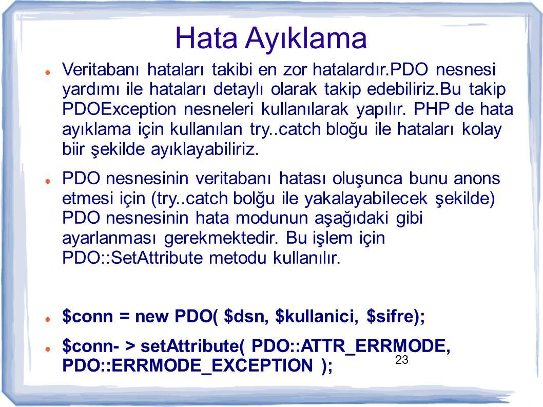 23 Hata Ayıklama Veritabanı hataları takibi en zor hatalardır.PDO nesnesi yardımı ile hataları detaylı olarak takip edebiliriz.Bu takip PDOException n