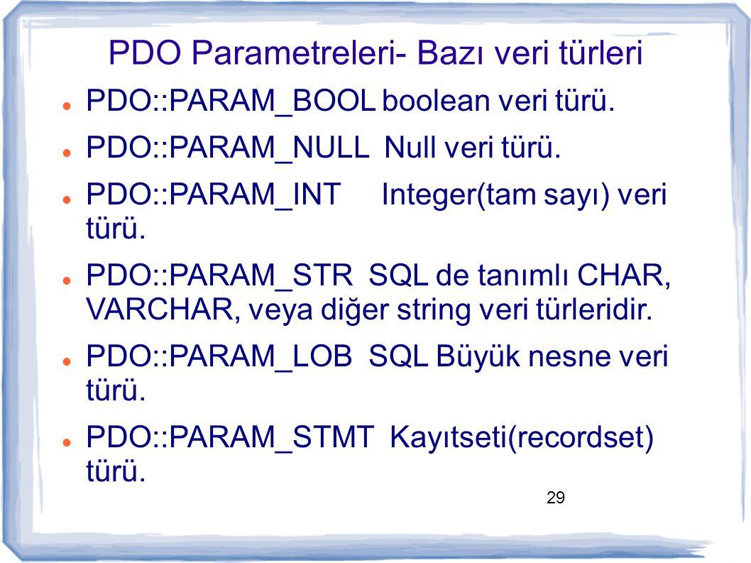 29 PDO Parametreleri- Bazı veri türleri PDO::PARAM_BOOL boolean veri türü. PDO::PARAM_NULL Null veri türü. PDO::PARAM_INT Integer(tam sayı) veri türü.