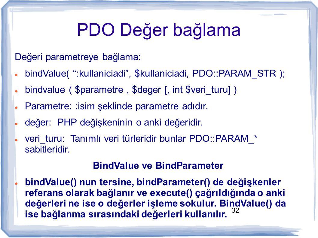 """32 PDO Değer bağlama Değeri parametreye bağlama: bindValue( """":kullaniciadi"""", $kullaniciadi, PDO::PARAM_STR ); bindvalue ( $parametre, $deger [, int $v"""
