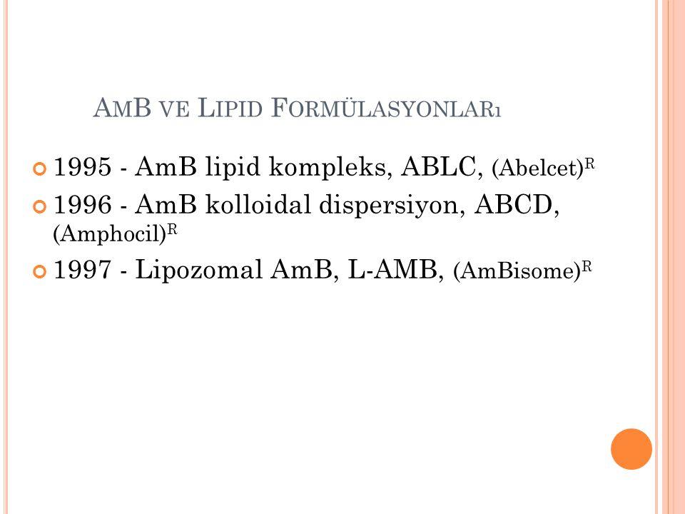 A M B VE L IPID F ORMÜLASYONLARı 1995 - AmB lipid kompleks, ABLC, (Abelcet) R 1996 - AmB kolloidal dispersiyon, ABCD, (Amphocil) R 1997 - Lipozomal Am