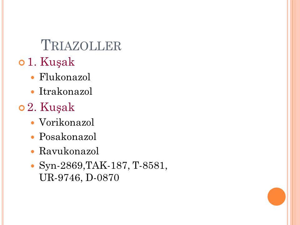 T RIAZOLLER 1. Kuşak Flukonazol Itrakonazol 2. Kuşak Vorikonazol Posakonazol Ravukonazol Syn-2869,TAK-187, T-8581, UR-9746, D-0870