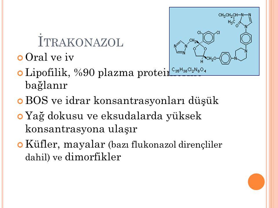 İ TRAKONAZOL Oral ve iv Lipofilik, %90 plazma proteinlerine bağlanır BOS ve idrar konsantrasyonları düşük Yağ dokusu ve eksudalarda yüksek konsantrasy