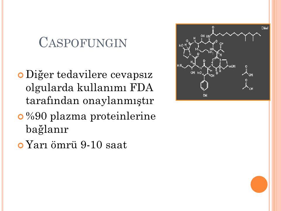 C ASPOFUNGIN Diğer tedavilere cevapsız olgularda kullanımı FDA tarafından onaylanmıştır %90 plazma proteinlerine bağlanır Yarı ömrü 9-10 saat