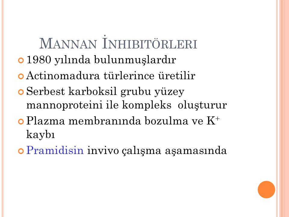 M ANNAN İ NHIBITÖRLERI 1980 yılında bulunmuşlardır Actinomadura türlerince üretilir Serbest karboksil grubu yüzey mannoproteini ile kompleks oluşturur