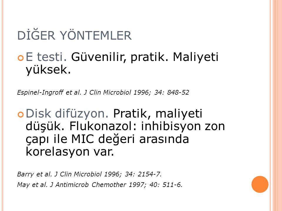 DİĞER YÖNTEMLER E testi. Güvenilir, pratik. Maliyeti yüksek. Espinel-Ingroff et al. J Clin Microbiol 1996; 34: 848-52 Disk difüzyon. Pratik, maliyeti