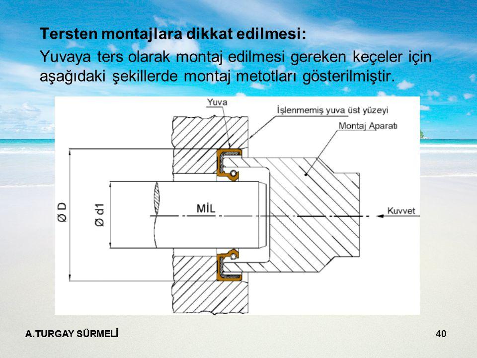 A.TURGAY SÜRMELİ 40 Tersten montajlara dikkat edilmesi: Yuvaya ters olarak montaj edilmesi gereken keçeler için aşağıdaki şekillerde montaj metotları gösterilmiştir.