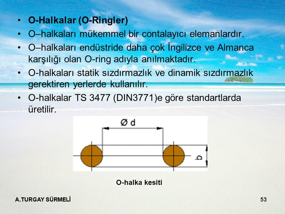 A.TURGAY SÜRMELİ 53 O-Halkalar (O-Ringler) O–halkaları mükemmel bir contalayıcı elemanlardır.
