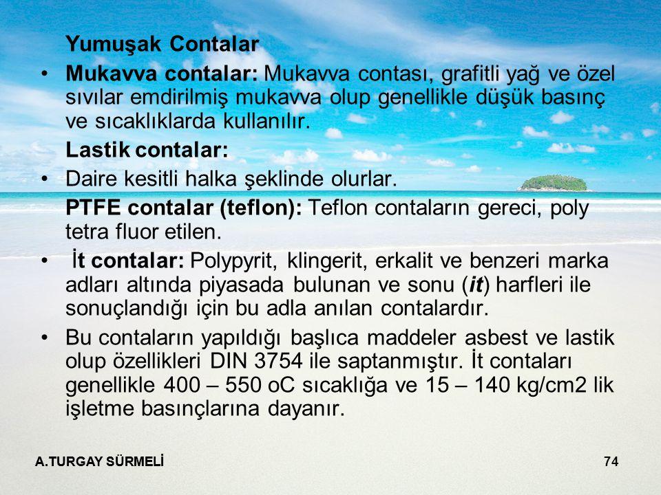 A.TURGAY SÜRMELİ 74 Yumuşak Contalar Mukavva contalar: Mukavva contası, grafitli yağ ve özel sıvılar emdirilmiş mukavva olup genellikle düşük basınç ve sıcaklıklarda kullanılır.
