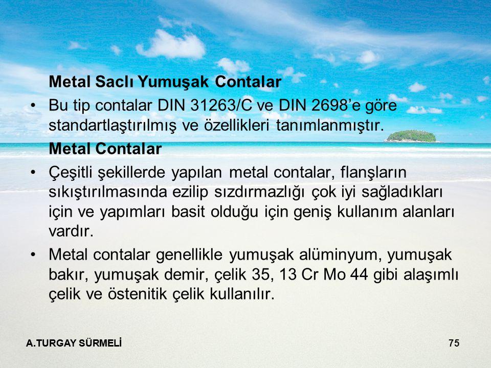 A.TURGAY SÜRMELİ 75 Metal Saclı Yumuşak Contalar Bu tip contalar DIN 31263/C ve DIN 2698'e göre standartlaştırılmış ve özellikleri tanımlanmıştır.