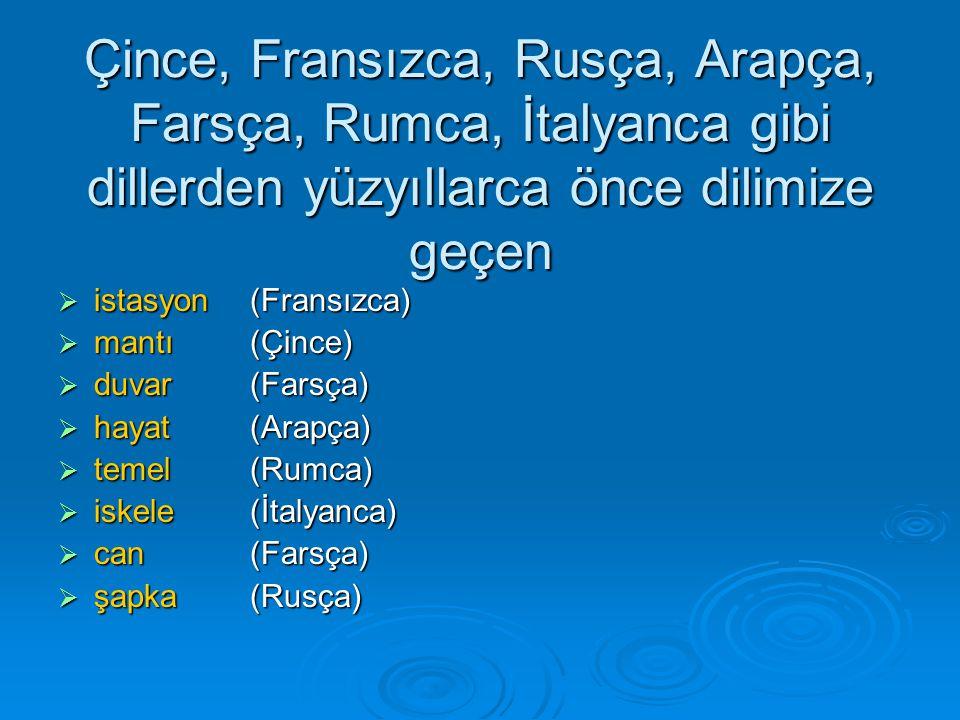 Çince, Fransızca, Rusça, Arapça, Farsça, Rumca, İtalyanca gibi dillerden yüzyıllarca önce dilimize geçen  istasyon (Fransızca)  mantı(Çince)  duvar (Farsça)  hayat(Arapça)  temel (Rumca)  iskele (İtalyanca)  can (Farsça)  şapka (Rusça)