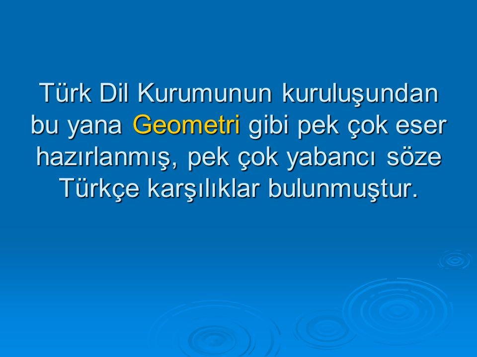 Türk Dil Kurumunun kuruluşundan bu yana Geometri gibi pek çok eser hazırlanmış, pek çok yabancı söze Türkçe karşılıklar bulunmuştur.
