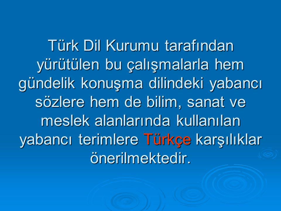 Türk Dil Kurumu tarafından yürütülen bu çalışmalarla hem gündelik konuşma dilindeki yabancı sözlere hem de bilim, sanat ve meslek alanlarında kullanılan yabancı terimlere Türkçe karşılıklar önerilmektedir.