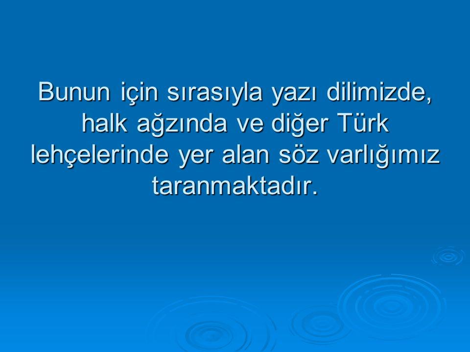 Bunun için sırasıyla yazı dilimizde, halk ağzında ve diğer Türk lehçelerinde yer alan söz varlığımız taranmaktadır.