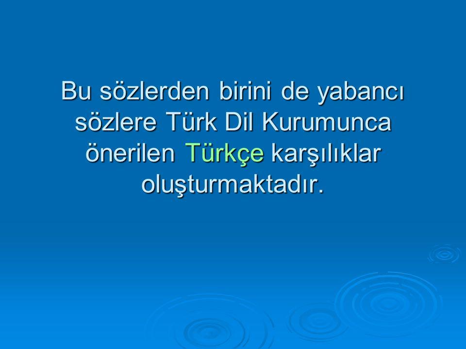 Bu sözlerden birini de yabancı sözlere Türk Dil Kurumunca önerilen Türkçe karşılıklar oluşturmaktadır.