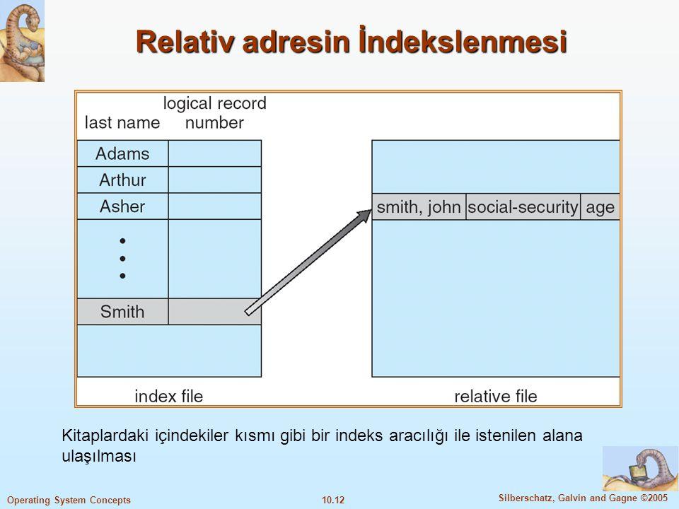 10.12 Silberschatz, Galvin and Gagne ©2005 Operating System Concepts Relativ adresin İndekslenmesi Kitaplardaki içindekiler kısmı gibi bir indeks arac