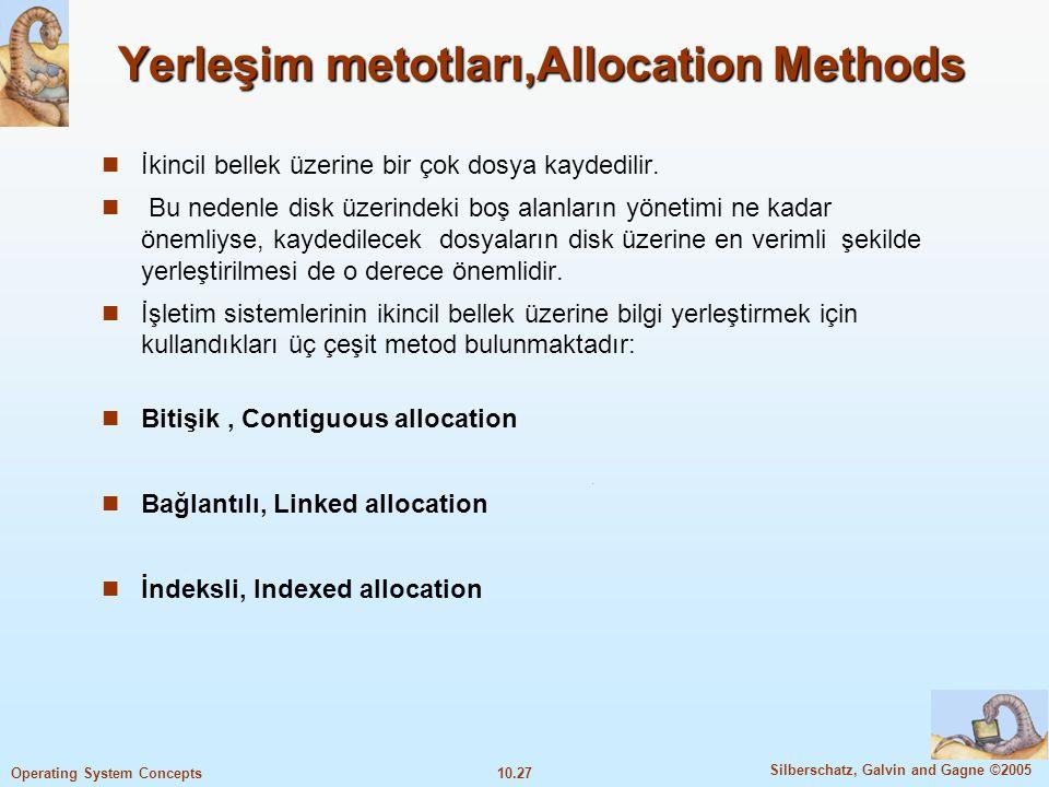 10.27 Silberschatz, Galvin and Gagne ©2005 Operating System Concepts Yerleşim metotları,Allocation Methods İkincil bellek üzerine bir çok dosya kayded