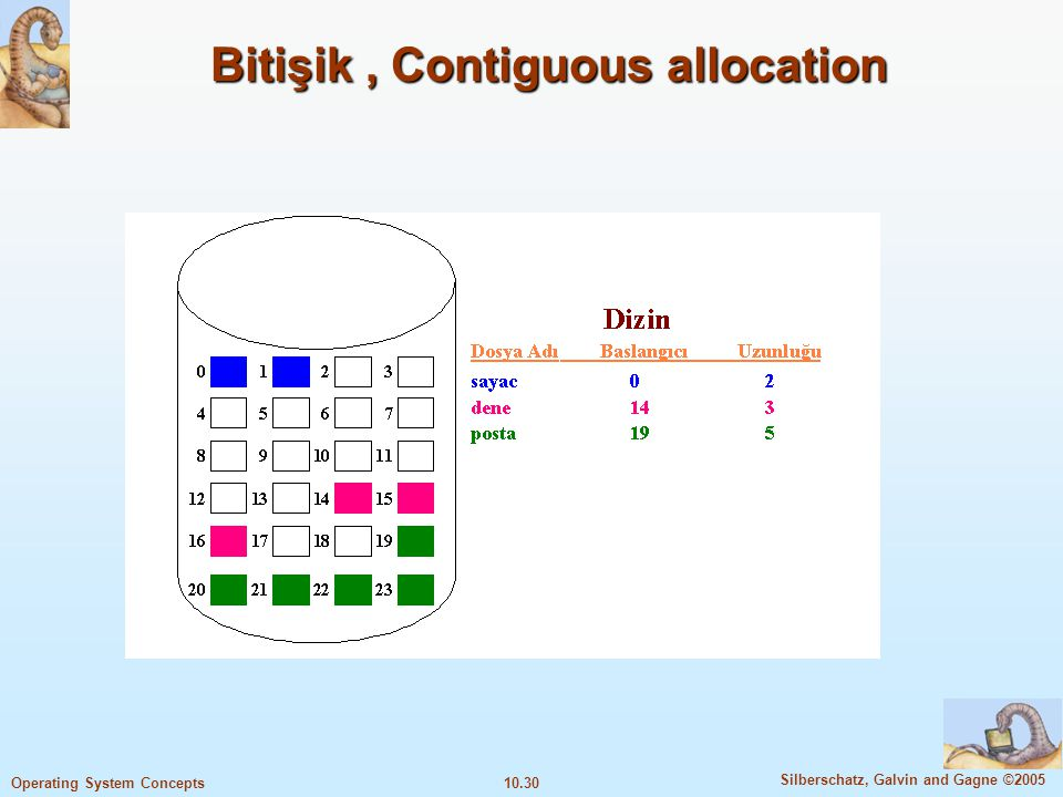 10.30 Silberschatz, Galvin and Gagne ©2005 Operating System Concepts Bitişik, Contiguous allocation