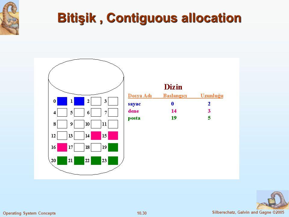 10.30 Silberschatz, Galvin and Gagne ©2005 Operating System Concepts Bitişik, Contiguous allocation