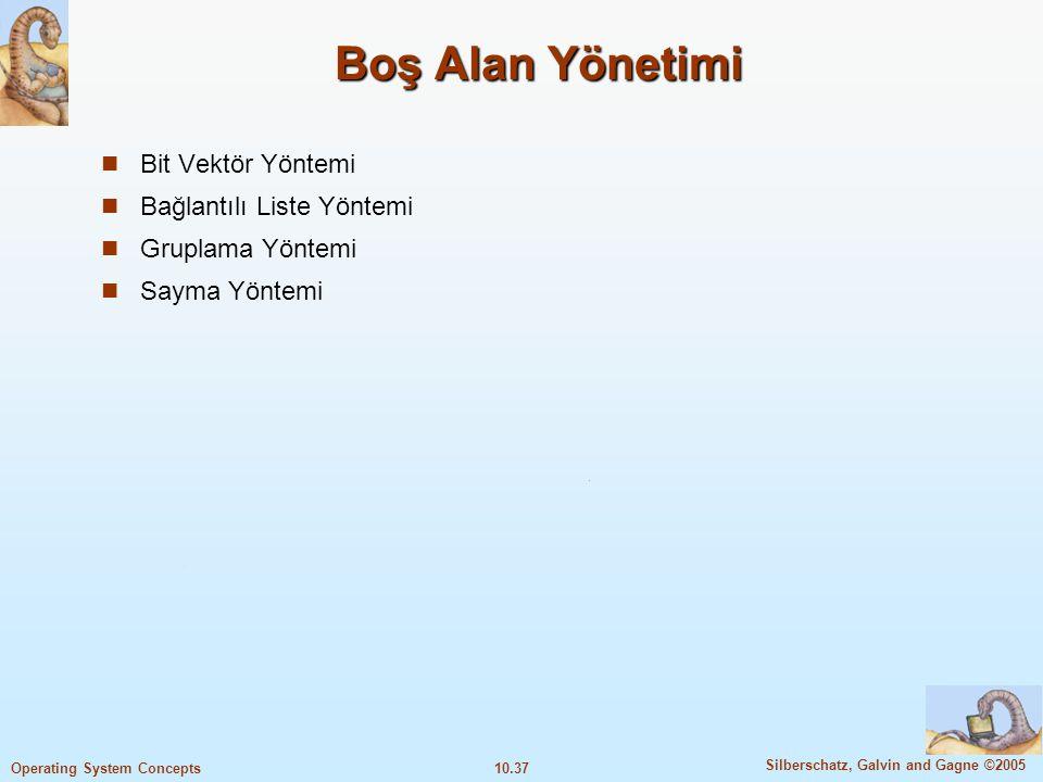 10.37 Silberschatz, Galvin and Gagne ©2005 Operating System Concepts Boş Alan Yönetimi Bit Vektör Yöntemi Bağlantılı Liste Yöntemi Gruplama Yöntemi Sa
