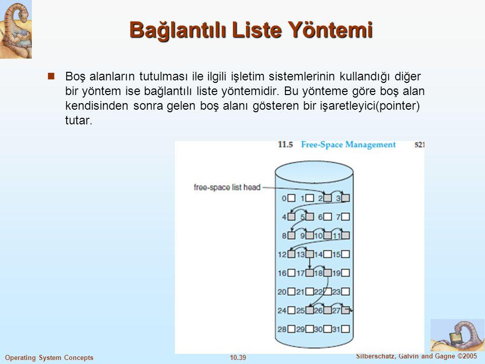 10.39 Silberschatz, Galvin and Gagne ©2005 Operating System Concepts Bağlantılı Liste Yöntemi Boş alanların tutulması ile ilgili işletim sistemlerinin