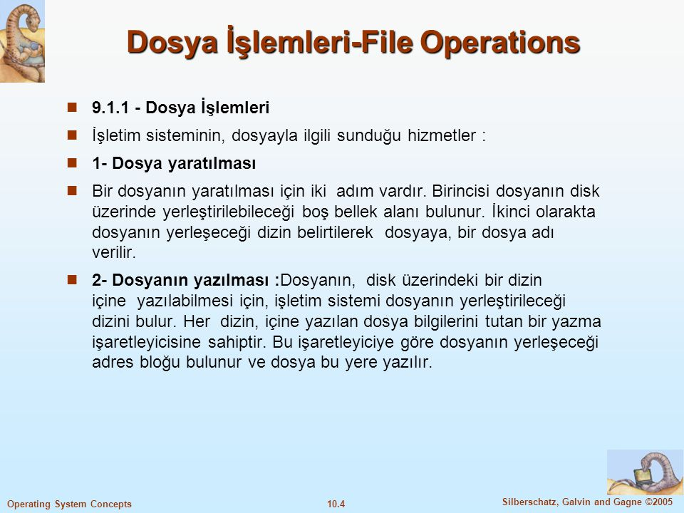 10.35 Silberschatz, Galvin and Gagne ©2005 Operating System Concepts İndeksli, Indexed allocation