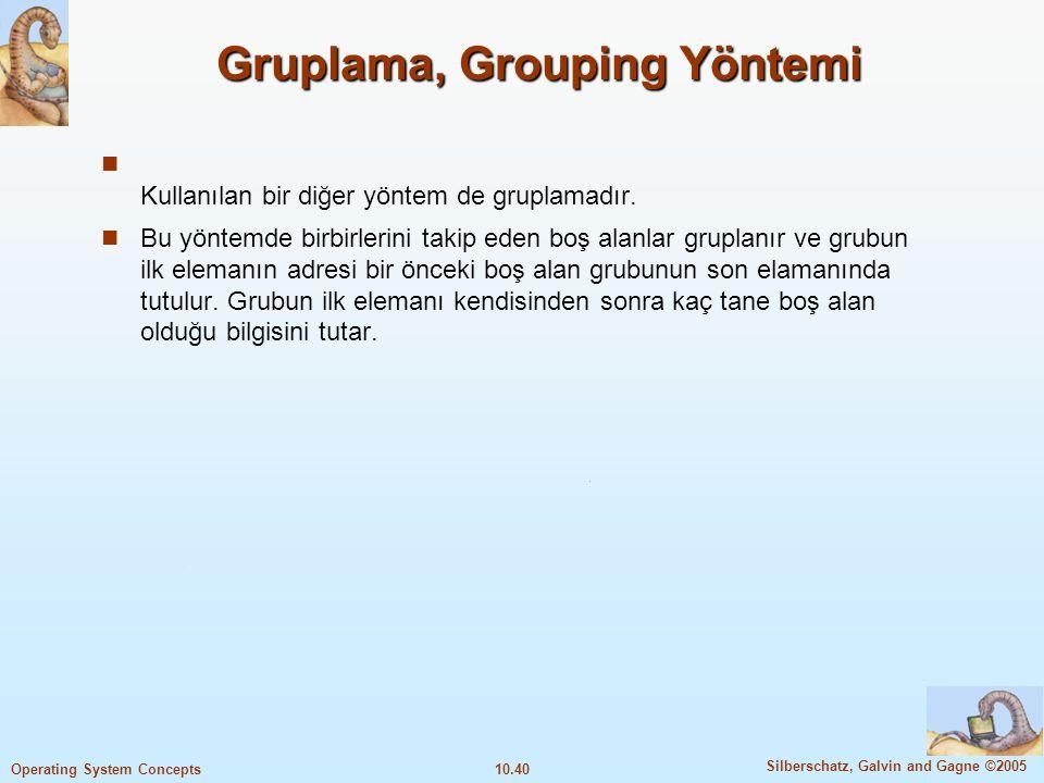 10.40 Silberschatz, Galvin and Gagne ©2005 Operating System Concepts Gruplama, Grouping Yöntemi Kullanılan bir diğer yöntem de gruplamadır. Bu yöntemd