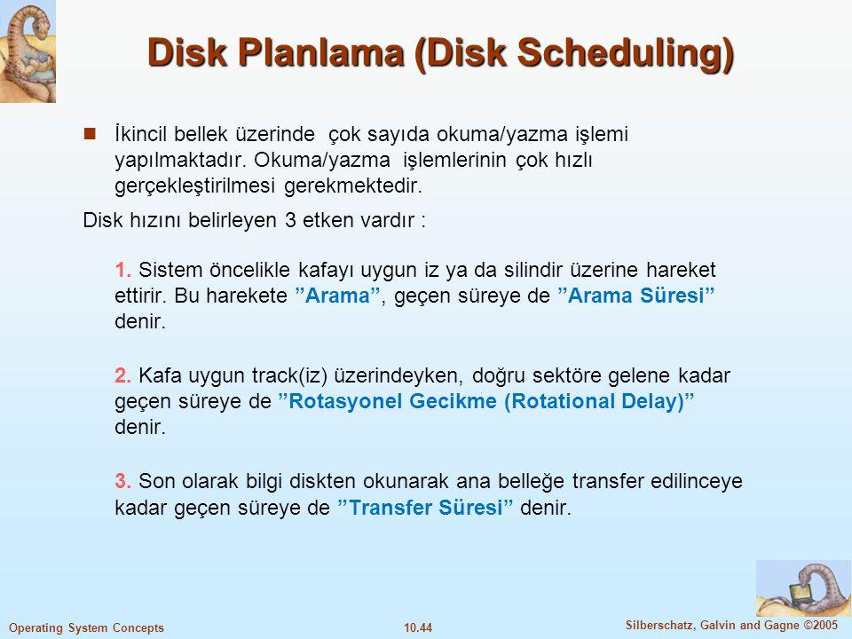 10.44 Silberschatz, Galvin and Gagne ©2005 Operating System Concepts Disk Planlama (Disk Scheduling) İkincil bellek üzerinde çok sayıda okuma/yazma iş