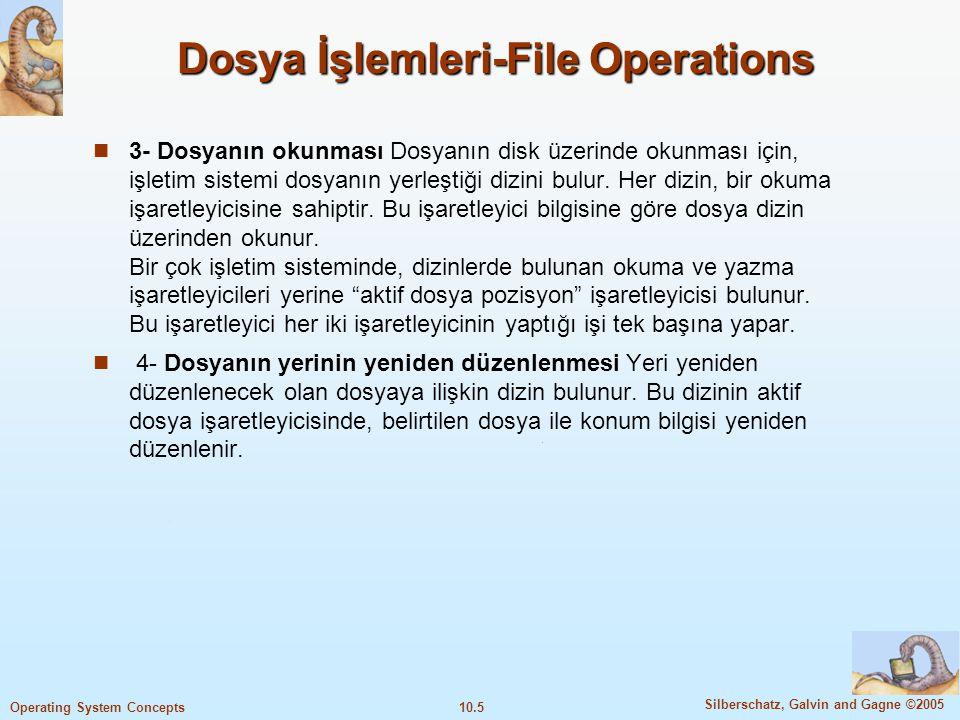 10.5 Silberschatz, Galvin and Gagne ©2005 Operating System Concepts Dosya İşlemleri-File Operations 3- Dosyanın okunması Dosyanın disk üzerinde okunma