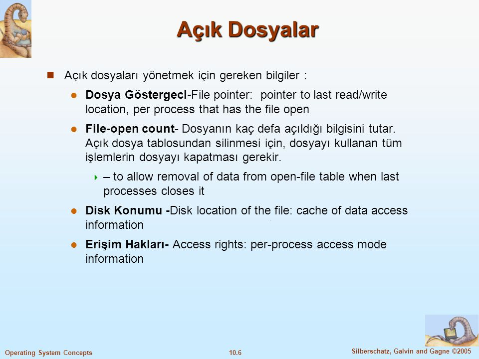 10.7 Silberschatz, Galvin and Gagne ©2005 Operating System Concepts Dosya Türleri, İsim, Uzantı File Types – Name, Extension