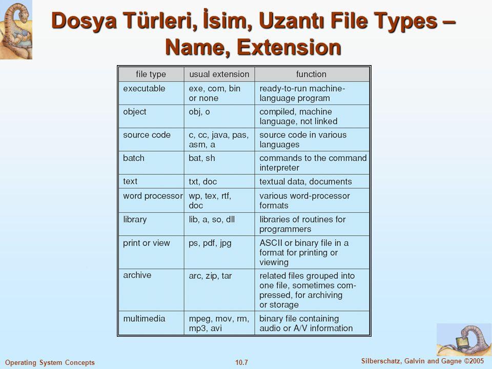 10.7 Silberschatz, Galvin and Gagne ©2005 Operating System Concepts Dosya Türleri, İsim, Uzantı File Types – Name, Extension