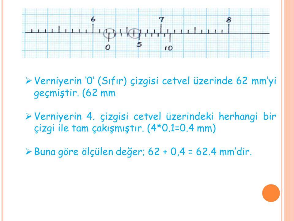  Verniyerin '0' (Sıfır) çizgisi cetvel üzerinde 62 mm'yi geçmiştir. (62 mm  Verniyerin 4. çizgisi cetvel üzerindeki herhangi bir çizgi ile tam çakış