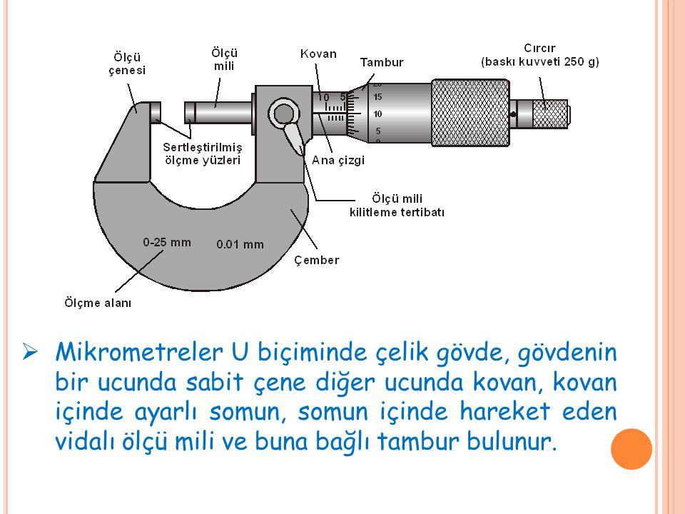  Mikrometreler U biçiminde çelik gövde, gövdenin bir ucunda sabit çene diğer ucunda kovan, kovan içinde ayarlı somun, somun içinde hareket eden vidalı ölçü mili ve buna bağlı tambur bulunur.