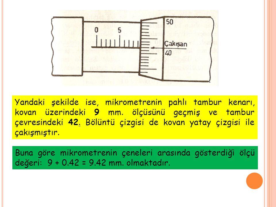Yandaki şekilde ise, mikrometrenin pahlı tambur kenarı, kovan üzerindeki 9 mm.